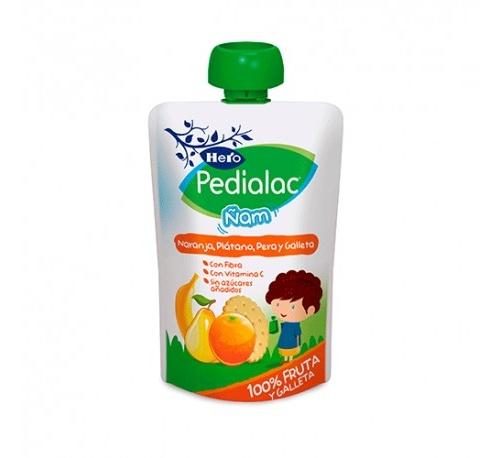 Pedialac ñam - hero baby (100 g bolsita naranja platano pera y galletas)