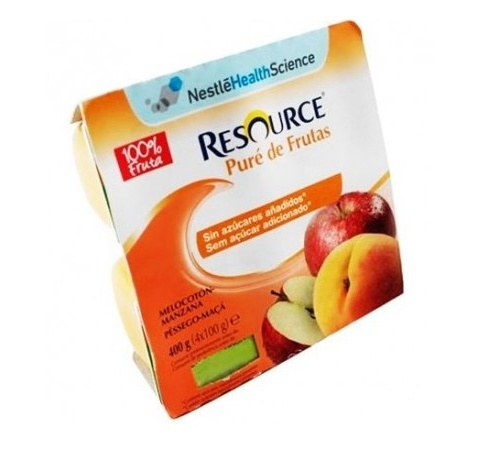 Resource pure de frutas (100 g 4 tarrinas melocoton-manzana)