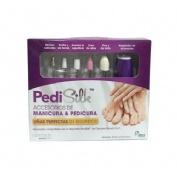 Pedisilk accesorios manicura-pedicura (5 accesorios+adaptador+bolsa protectora)